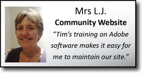 "Mrs L.J., Community Website, ""I update the church website regularly, now I've learnt Adobe Software."""